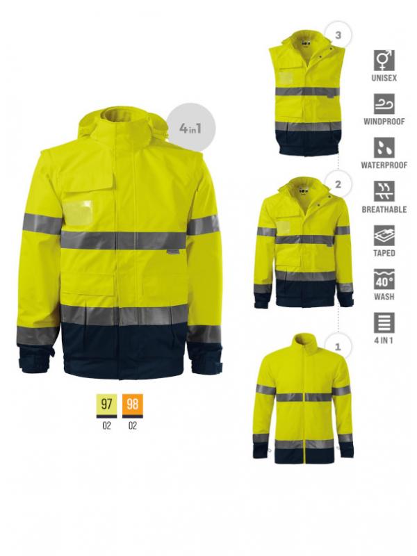 HV Guard 4 in 1 Jacket unisex barvna 4XL