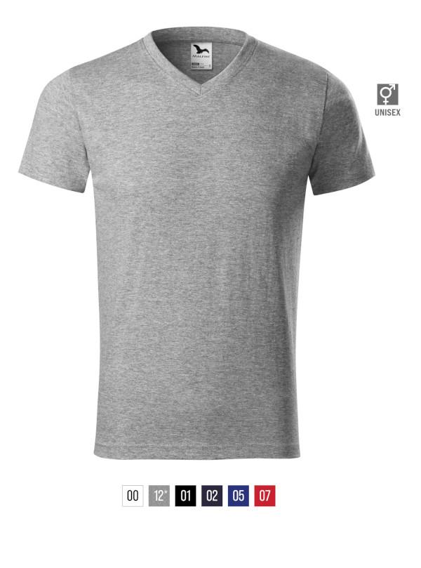 Heavy V-neck T-shirt unisex bela 3XL