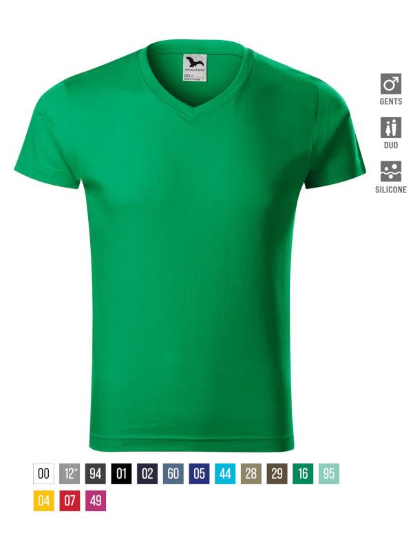 Slim Fit V-neck T-shirt Gents barvna 3XL