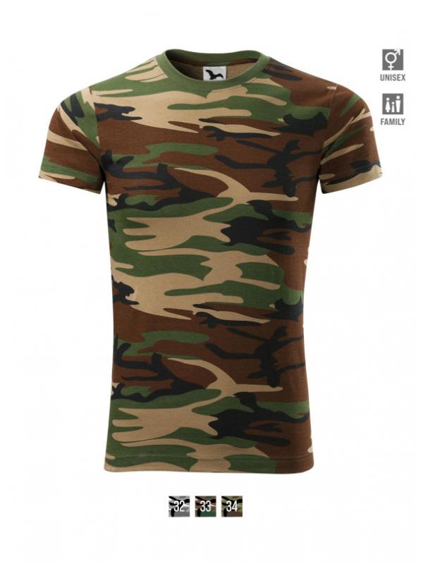 Camouflage T-shirt unisex barvna
