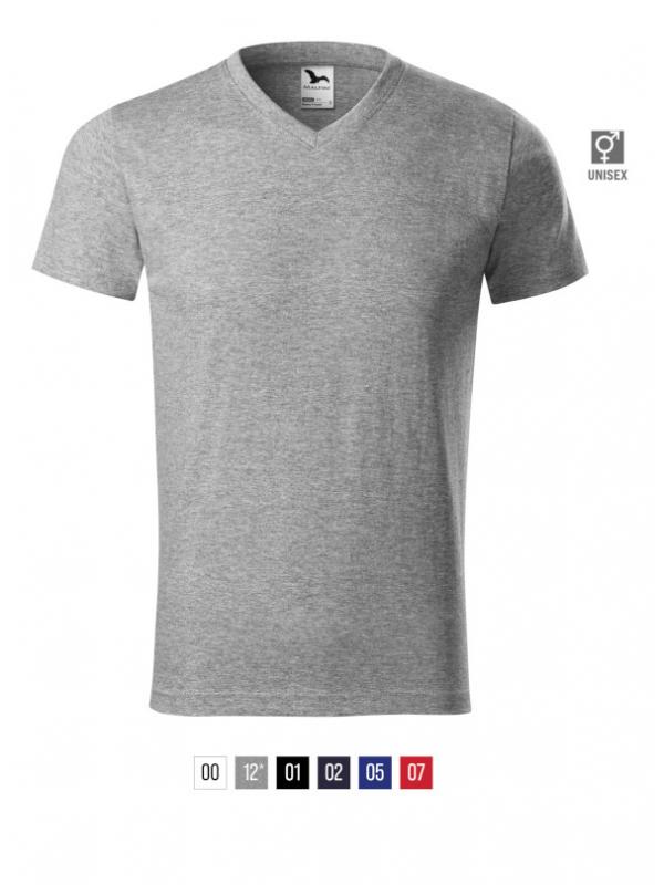Heavy V-neck T-shirt unisex barvna