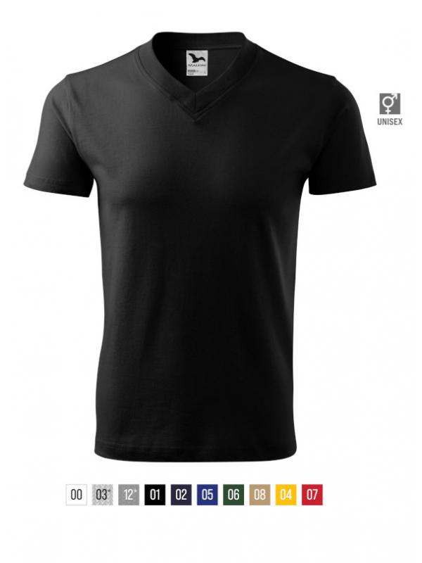 V-neck T-shirt unisex barvna
